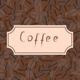 Безшовная картина с кофейными зернами и ретро рамкой Стоковое Фото