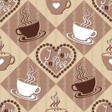 Безшовная картина с кофейными чашками Стоковая Фотография RF