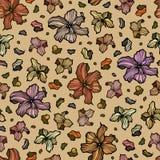 Безшовная картина с красивыми абстрактными цветками плана Стоковая Фотография RF
