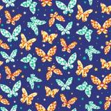 Безшовная картина с красивыми бабочками Стоковое Фото