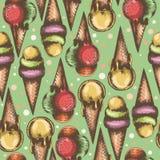 Безшовная картина с красивыми иллюстрациями мороженого Стоковое Фото
