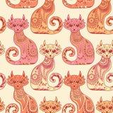 Безшовная картина с красивыми котами в этническом Стоковое фото RF