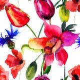 Безшовная картина с красивыми тюльпанами и маком цветет Стоковые Изображения RF