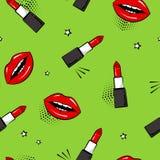 Безшовная картина с красными губной помадой и губами, звездами стиль искусства шипучки также вектор иллюстрации притяжки corel иллюстрация штока