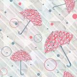 Безшовная картина с красными зонтиками Стоковые Изображения