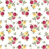 Безшовная картина с красными и желтыми розами. иллюстрация штока