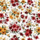 Безшовная картина с красными и желтыми цветками Стоковая Фотография