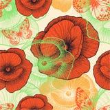 Безшовная картина с красными маками и бабочками, Стоковые Фотографии RF