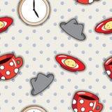 Безшовная картина с красными чашками Стоковое Изображение