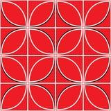 Безшовная картина с красным цветком на красной предпосылке Стоковое Изображение RF