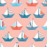 Безшовная картина с красочными бумажными кораблями Текстура моря Стоковое Фото