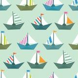 Безшовная картина с красочными бумажными кораблями Текстура моря Стоковое фото RF