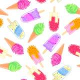 Безшовная картина с красочными конусом и popsicle мороженого Текстура лета Стоковое Изображение