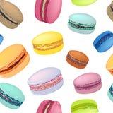 Безшовная картина с красочными печеньями macaroon Стоковые Фотографии RF
