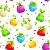 Безшовная картина с красочными плодоовощами и ягодами фантазии Стоковое Изображение RF