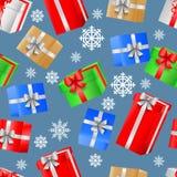 Безшовная картина с красочными подарочными коробками и лентами рождества бесплатная иллюстрация