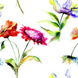 Безшовная картина с красочными полевыми цветками Стоковое Изображение RF