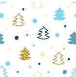Безшовная картина с красочными рождественскими елками Стоковая Фотография
