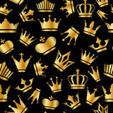 Безшовная картина с кронами золота иллюстрация штока