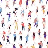 Безшовная картина с крошечными людьми танцуя на танцплощадке на ночном клубе на белой предпосылке Фон со счастливым людей иллюстрация вектора