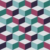 Безшовная картина с кубом, абстрактным Стоковое Изображение