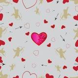 Безшовная картина с купидонами и сердцами Вектор установил 1 Стоковые Изображения