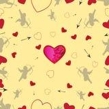 Безшовная картина с купидонами и сердцами Вектор установил 1 Стоковые Изображения RF