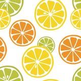 Безшовная картина с кусками лимона, апельсина и известки на белой предпосылке Стоковые Изображения