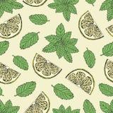 Безшовная картина с кусками лимона и зеленой мяты Стоковое Изображение RF