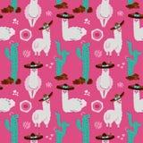 Безшовная картина с ламой, альпакой, кактусом и элементами дизайна на розовой предпосылке Иллюстрация руки вектора вычерченная Юж бесплатная иллюстрация