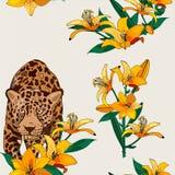 Безшовная картина с леопардом и желтыми лилиями иллюстрация вектора