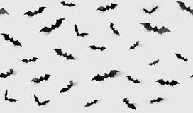 Безшовная картина с летучими мышами хеллоуина Стоковые Изображения RF