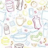 Безшовная картина с лечением гриппа doodles Иллюстрация штока