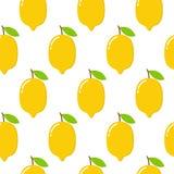 Безшовная картина с лимонами на белой предпосылке также вектор иллюстрации притяжки corel иллюстрация штока