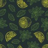Безшовная картина с лимоном и зеленой мятой Стоковые Изображения