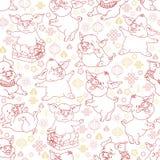 Безшовная картина с линейными смешными свиньями вектор стоковые фотографии rf