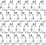 Безшовная картина с линией собаками Стоковые Изображения RF