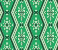 Безшовная картина с линиями зигзага и флористическими элементами Стоковая Фотография