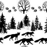 Безшовная картина с лисой и деревьями Стоковые Изображения