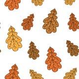 Безшовная картина с листьями дуба осени также вектор иллюстрации притяжки corel Стоковая Фотография RF