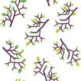 Безшовная картина с листьями и ветвями, простым дизайном Стоковые Фотографии RF