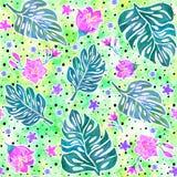 Безшовная картина с листьями monstera и тропическими цветками иллюстрация штока