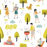 Безшовная картина с людьми на партии BBQ Друзья на барбекю лета и предпосылке гриля Внешнее варя мясо иллюстрация штока