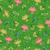 Безшовная картина с лягушками Стоковые Фотографии RF