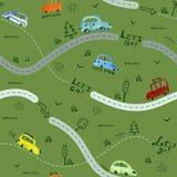 Безшовная картина с малыми автомобилями и дорожными знаками на зеленой предпосылке иллюстрация вектора