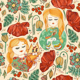 Безшовная картина с маленькими девочками с котом и птицей Стоковые Фото