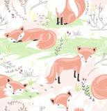 Безшовная картина с маленькими лисами весна предпосылки милая Стоковые Изображения RF