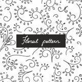 Безшовная картина с малыми заводами и цветками чертеж вручает ее нижнее белье утра вверх по теплым детенышам женщины Линейная кар Стоковое фото RF