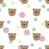 Безшовная картина с медведем иллюстрация вектора