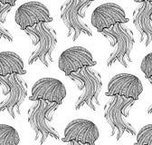 Безшовная картина с медузами нарисованными рукой для взрослой страницы расцветки иллюстрация вектора